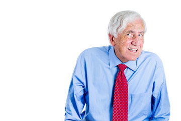 Old man, senior executive having hearing problems