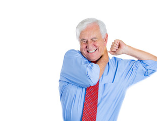 Old stressed man having a neck or shoulder pain