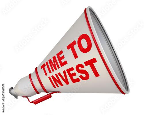 Time to invest (время инвестировать). Рупор с надписью