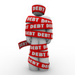 Debt Man Wrapped in Tape Budget Deficit