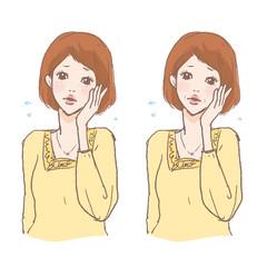 肌に悩む女性