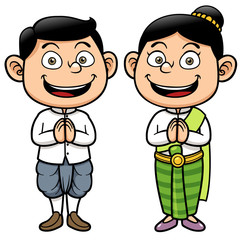 Vector illustration of Thai kids, Sawasdee