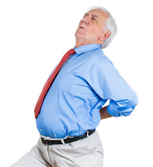 Senior man, old executive having severe lower back pain