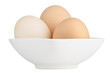 Brown eggs in white ceramic bowl