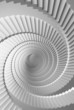 3d illustration background with white spiral stairs perspective