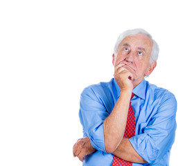 Old man thinking, daydreaming, procrastinating, sucking thumb