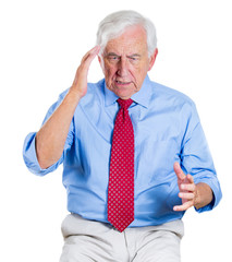 Old man having trouble to recall information, has memory loss