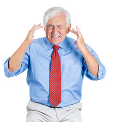 Old man having trouble to recall information, having headache