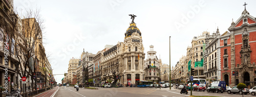 Panorama of Crossing the Calle de Alcala and Gran Via  in Madrid