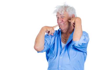 Crazy, agitated, unhinged elderly, senior man