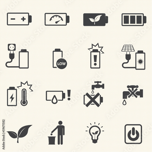 Battery icons with texture background. Vector icon set.