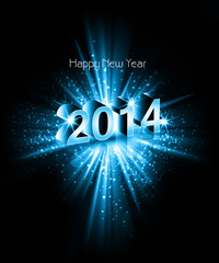 Vector celebration colorful swirl wave happy new year 2014 backg