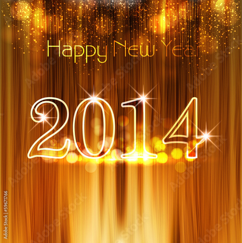 Happy New Year 2014 texture background with shiny colorful desig