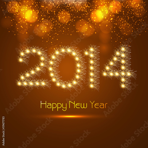 New year for 2014 celebration colorful background illustration v