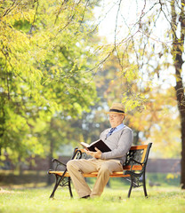 Senior man with hat sitting on a bench and reading a novel