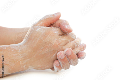 man washing hands on white with clipping path