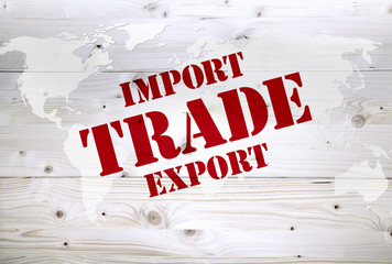 International import export and trade article on world map