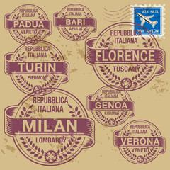 Grunge rubber stamp set with names of Italian cities