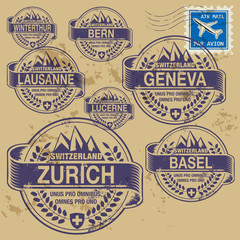 Grunge rubber stamp set with names of Switzerland cities