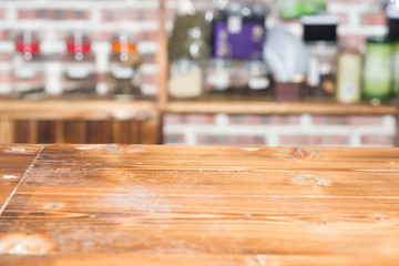 empty wooden table in cafe background horizontal