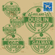 Grunge rubber stamp set with names of Ireland cities