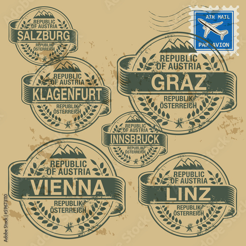 Grunge rubber stamp set with names of Austrian cities