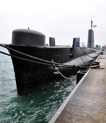 view of the submarine in dock