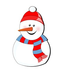 islolated snowman - white background
