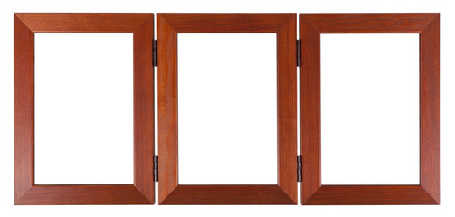 Wooden triple frame on a white background with clipping path