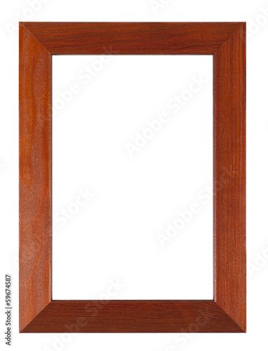 Wooden frame isolated on a white background with clipping path