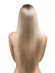 Beautiful straight long hair of blonde female model