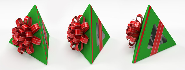 Three pyramidal green gift box with red ribbon