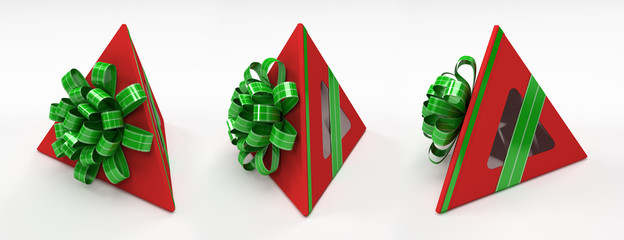 Three pyramidal red gift box with green ribbon