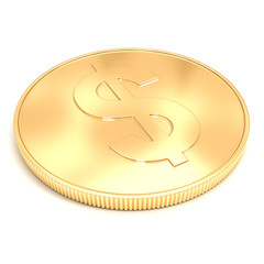 3d golden coin on a white background