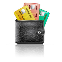 Leather wallet  with credit cards on a white background. Vector