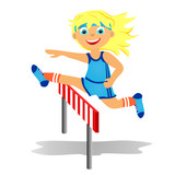 Girl overjumps hurdle