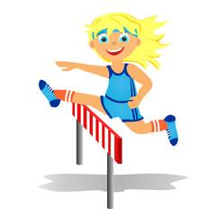 Girl overjumps hurdle