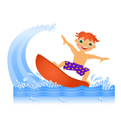 Boy on surfboard