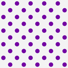 Bright Purple Polka Dots on White Textured Fabric Background