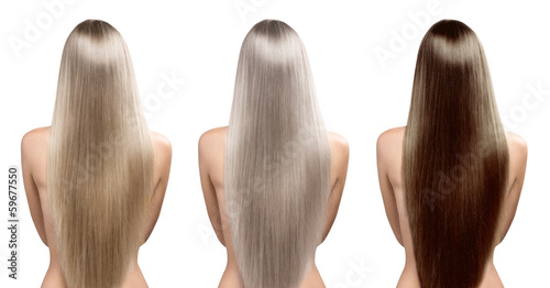 Hair tones. Hair coloring. Perfect long straight hairstyle