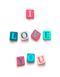 "Words ""i love you"" with colorful blocks"
