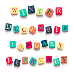 "Words ""winter"", ""february"", ""january"", ""december"""