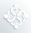 Business label white icon design. Heart sharing 4