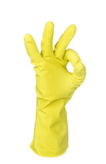 Hand in yellow glove  isolated on white background