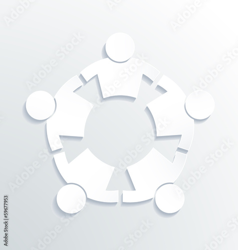 Business label white icon vector design. People Strong 5