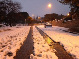 A street after snow storm in Jerusalem