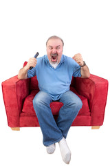 Man screaming at the television