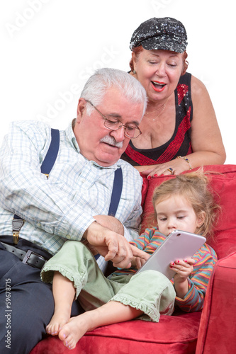 Grandparents babysitting their granddaughter