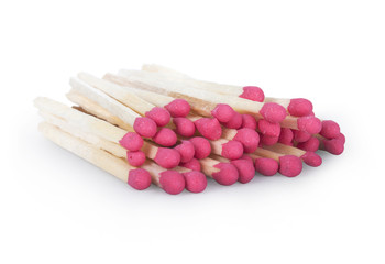 A lot of matches on white isolated background.