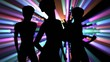 Dancers silhouette with volumetric lights background.